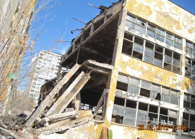Controlled demolition of old buildings on the grounds of the former Furnir plant, Sofia