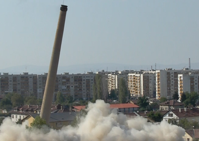 Controlled demolition of buildings and a chimney in a former vaccine production factory, Sofia