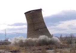Demolition of a cooling tower in Kremikovtsi