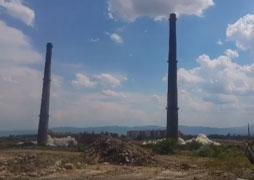Demolition of 2 chimneys in Kremikovtsi